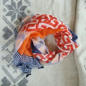 Nautical bright orange and blue lighy scarf